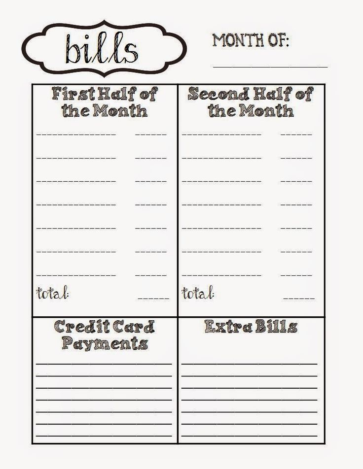 Free printable for monthly bills