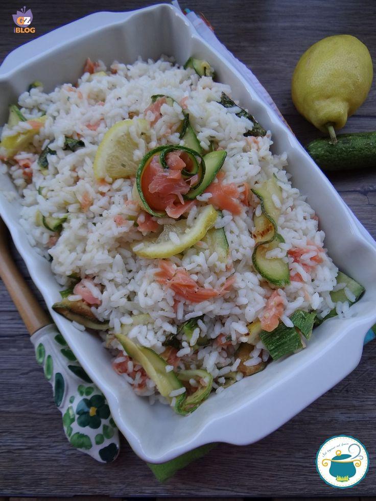 riso con zucchine, salmone e limone