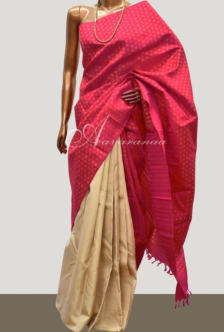 Beige & Pink 1/2&1/2 kanchipuram silk saree