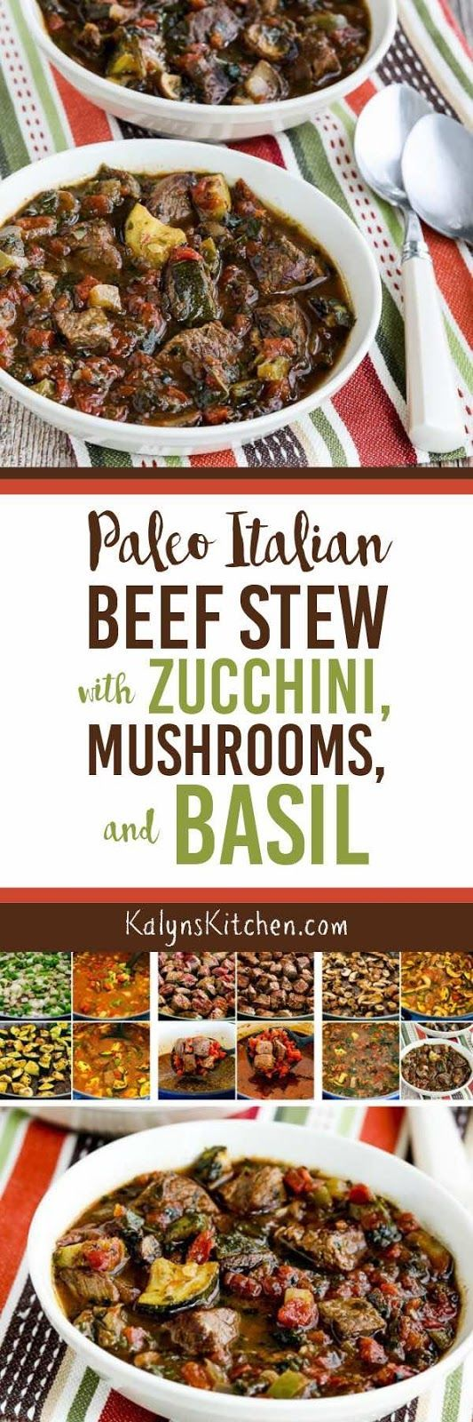 This delicious Paleo Italian Beef Stew with Zucchini, Mushrooms, and Basil is also Whole 30, low-carb, Keto, low-glycemic, gluten-free, and South Beach Diet friendly! And this reheats well, so cook once and eat a few times! [found on KalynsKitchen.com]