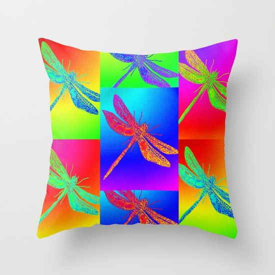 dragonfly, dragonflies, rainbow, rainbows, multicolored, boho, homewares, decor, new home, hippy, art, Throw Pillow made from 100% spun polyester poplin fabric, a stylish statement that will liven up any room. Individually cut and sewn by hand, each pillow features a double-sided print and is finished with a concealed zipper for ease of care.  Sold with or without faux down pillow insert.
