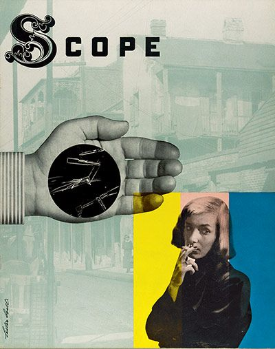 Scope (No 6, Vol 2, 1948)  Lester Beall |  Scope was a US magazine for 'the medical profession and other health workers', designed by Lester Beall. Beall was influenced by dada and the Bauhaus, and combined photography, illustration and type from different eras to dramatic effect. Granted remarkable freedom, he would sometimes send the magazine to the printers without first seeking the management's approval