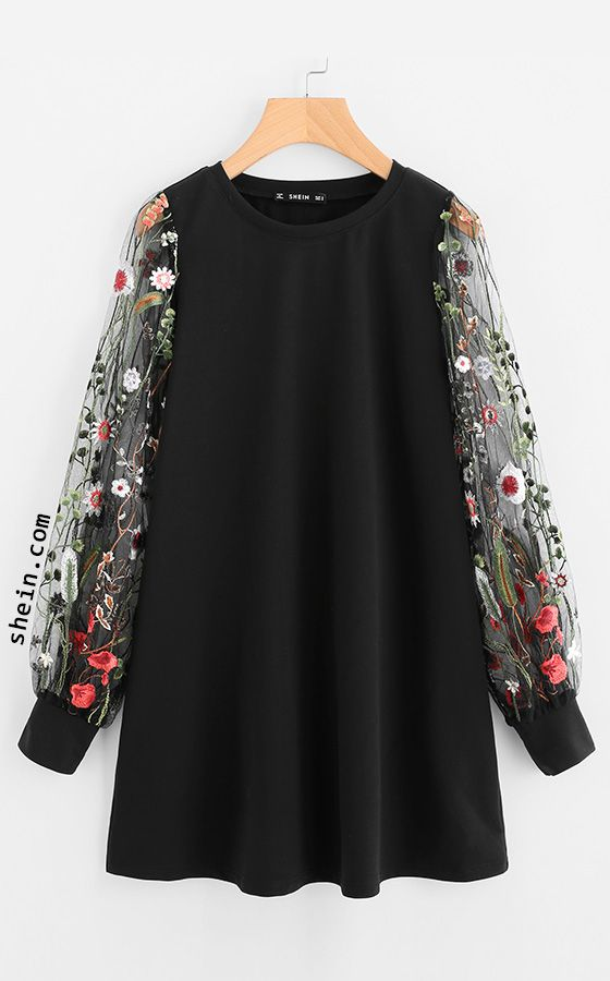 SHEIN Botanical Embroidered Mesh Sleeve Longline Pullover