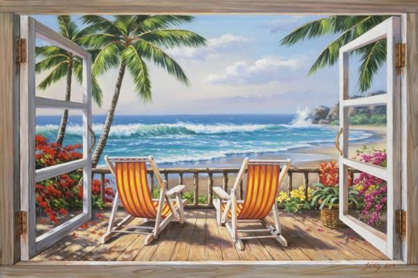Sung Kim - Tropical Terrace for Two - Fine Art Print - Global Gallery