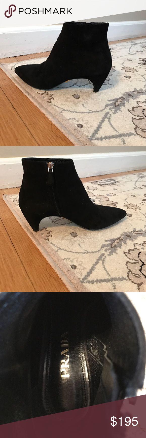 Prada black suede kitten heel ankle boot Prada black suede kitten heel ankle boot, gently worn Prada Shoes Ankle Boots & Booties