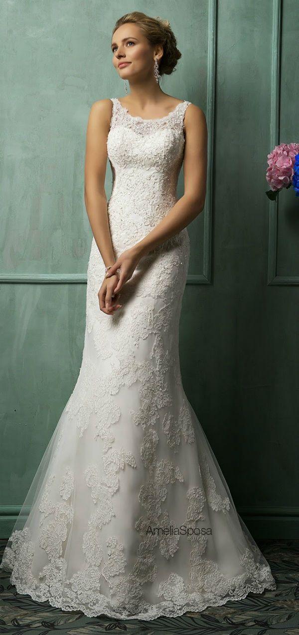 Vestido de novia sin mangas con encaje. Ideal para ceremonia por la mañana o al medio día
