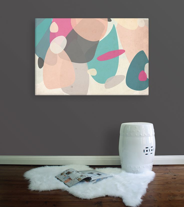 Outcrop Canvas - Rocks and organic forms in fun, and on-trend colourssuch as teal, peach, fuchsia and grey makethis a happy piece that would complimenta contemporary or retro styled home alike. From Wallstudio
