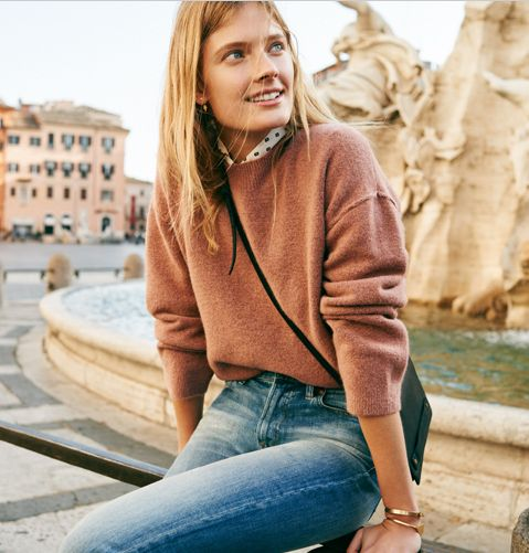A new look from Madewell fall. Love the sweater color and fit.