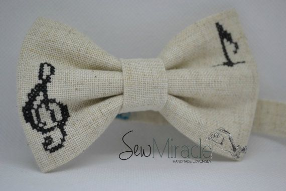 Bow tie Men's bow tie Linen bow tie Cross stitch bow by SewMiracle