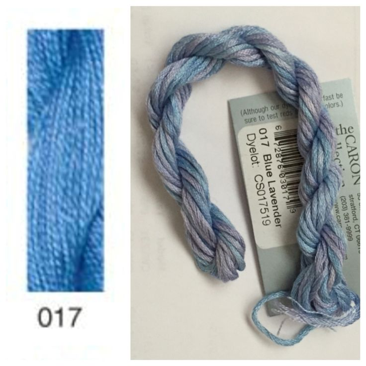 Caron Waterlilies 017 Blue Lavender. Left image from Caron website, right image at home in front of window.