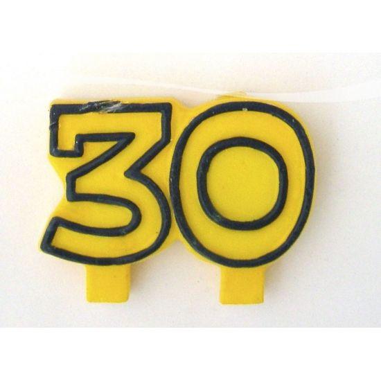 Cijferkaars 30 jaar. Kaars in de vorm van het getal 30. Formaat: ongeveer 8 x 6 cm.