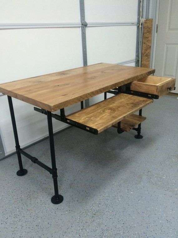 Computer Desk Reclaimed Wood Rustic Barnwood Table Keyboard Tray Pen Drawer