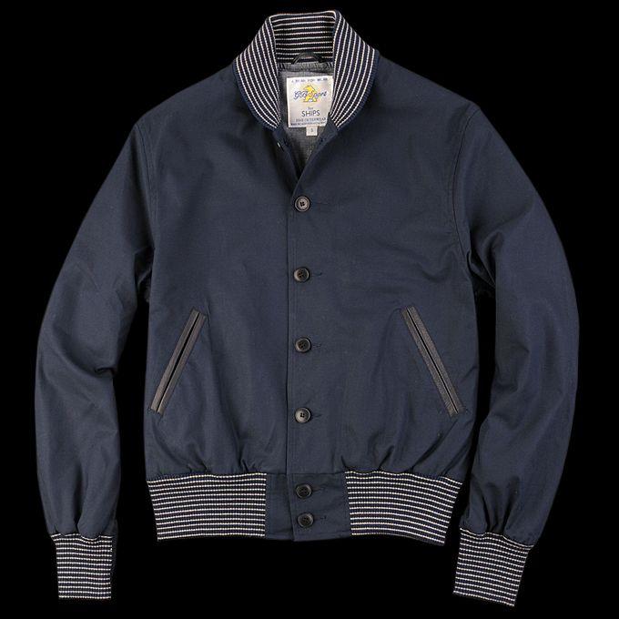 UNIONMADE - Golden Bear - Golden Bear Cotton Shawl Baseball Jacket in Navy