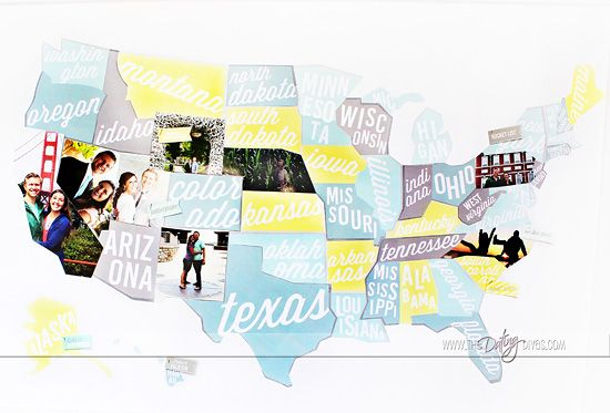 Travel Map Photo Keepsake - keep a map on the wall and fill it in with pictures when you visit each new place!