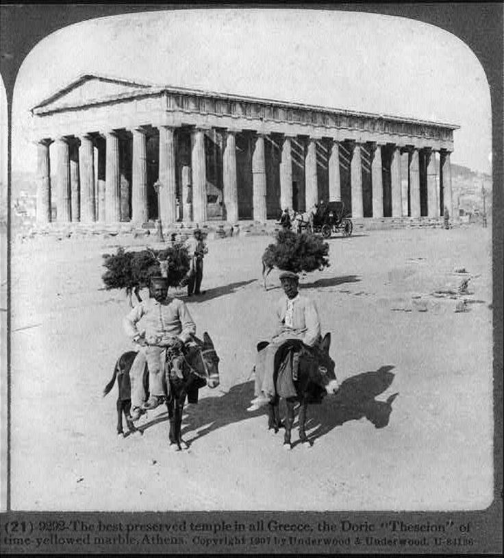 The best preserved temple in all Greece, the doric Theseion of time-yellowed marble, Athens. Three men, four donkeys and a horse-drawn carriage in front of the temple.  Date c1907 Jan. 31. Repository: Library of Congress Prints and Photographs Division Washington, D.C. Collections:  Stereograph Cards. Copyright by Underwood & Underwood. This record contains unverified, old data from caption card. http://www.loc.gov/pictures/