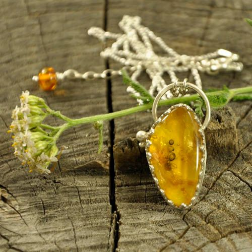 Bubbles  Baltic amber insect necklace  sterling silver by Ankanate