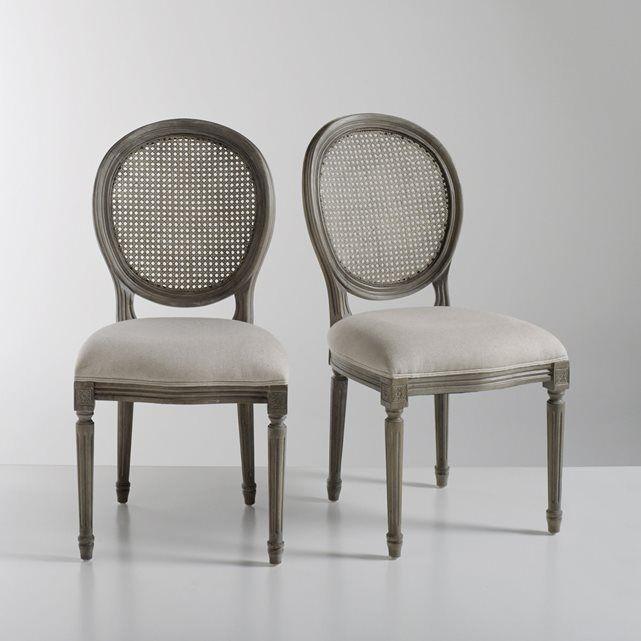 Lote de 2 cadeiras com encosto redondo e em palhinha, estilo Luís XVI, Nottingham La Redoute Interieurs