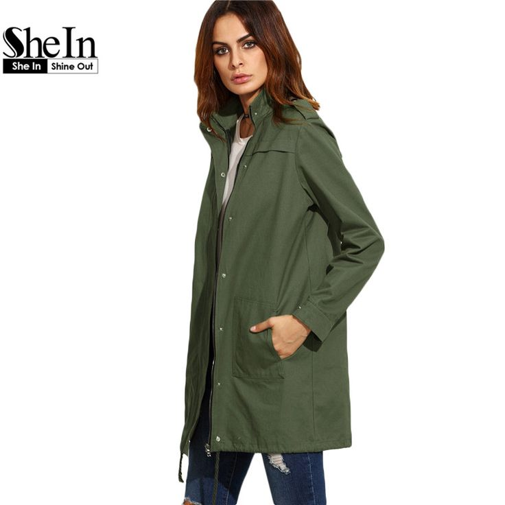 SheIn Casual Outerwear For Women Autumn Ladies Oliver Green Stand Collar Long Sleeve Button Up Zipper Utility Coat aliexpress.com