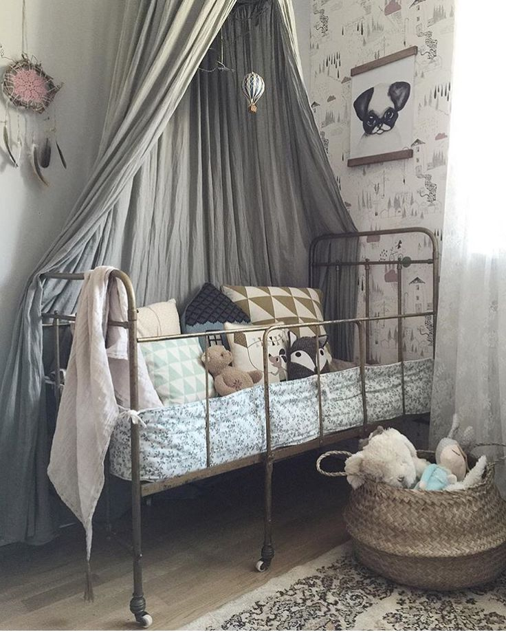 Nothing beats a vintage cot + a Numero 74 canopy! Like a match made in heaven, I say! [#numero74 canopies available online now...] ♡ Image credit: @studioelwa #hellolittlebirdie #canopy #grey #vintagecot #kidsroom #kidsdecor #kidsinteriors #nursery