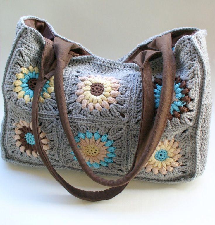 Crochet granny squares bag