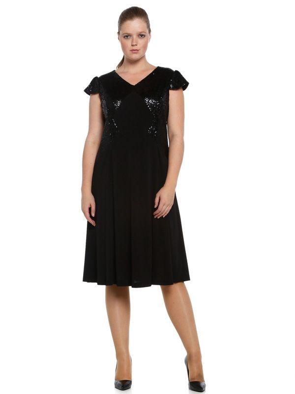 Nidya Moda - Nidya Moda Büyük Beden Payetli Elbise-4061S