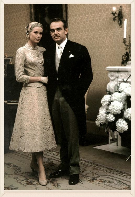 The Civil Wedding- In Monaco, as in France, a civil marriage must take place before a religious ceremony, and so Grace and Rainier held two weddings. On April 18, 1956, the couple were legally wed in the baroque throne room in the Palace of Monaco in a ceremony attended by their close family and friends. Grace wore a beige lace dress and hat, and after exchanging their vows, husband and wife made a brief appearance on the palace's balcony to wave to the 500 members of the public.  jj