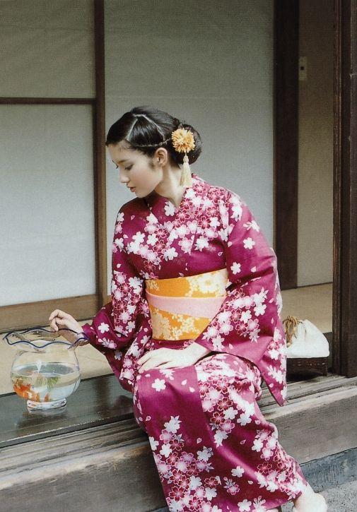桜柄の浴衣