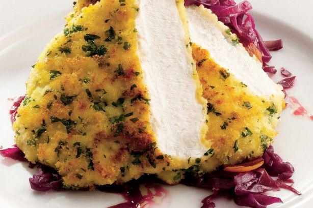 Parsley crusted chicken schnitzel with sweet and sour cabbage main image