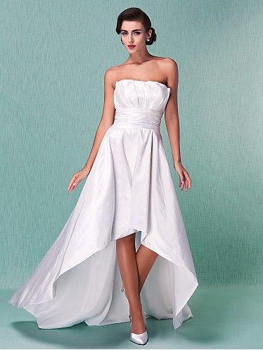 Directsale A-line Strapless Asymmetrical Taffeta Wedding Dress Free Measurement