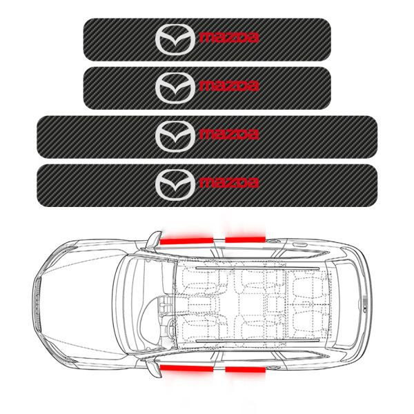 11 85 خصم 31 سيارة التصميم 4 قطعة باب السيارة عتبة الكربون الألياف لوحة بالية ملصق لمازدا ديميو 2 3 5 6 M2 M3 M5 M6 Cx 5 Cx 7 Cx 9 Car Stickers Mx5 Mazda