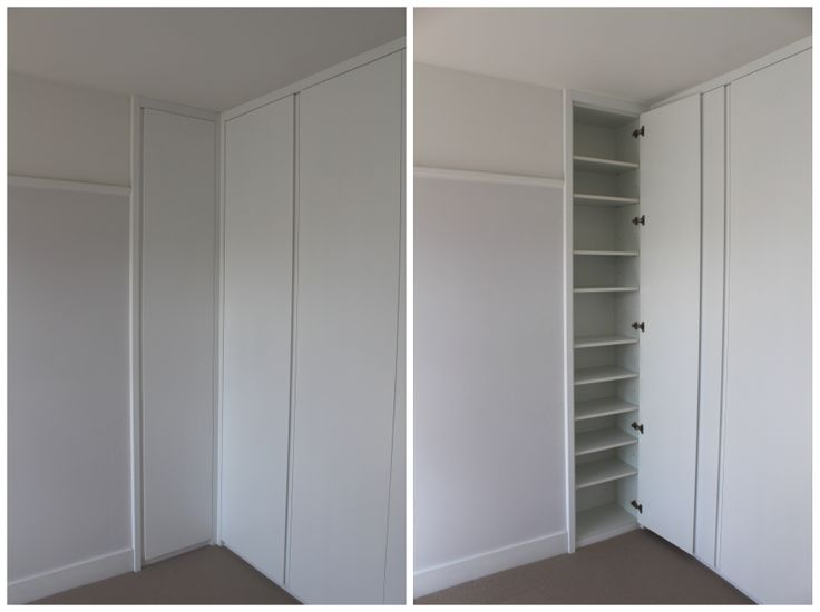 Make use of alcove space. Bespoke fitted wardrobe, flush doors, integrated handle, contemporary satin spray finish. Hand made in London #BespokeFurniture www.timamery.com