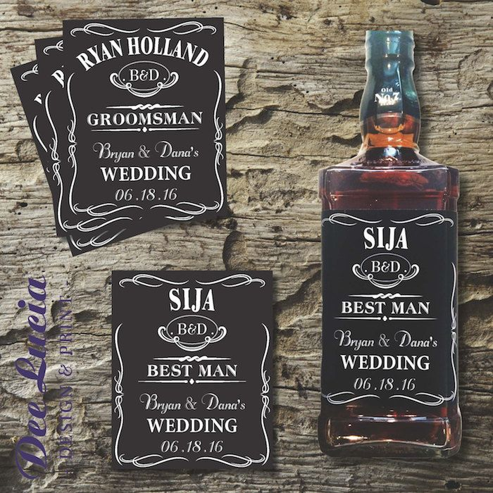Customize bottles of your favorite drinks with these bottle labels by DeeLuciaDesignPrint via Etsy. #groomsmengifts #labels