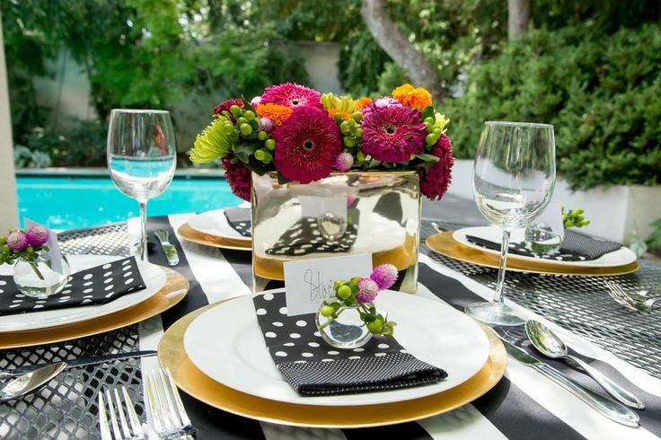 1000 images about kate spade inspired tablescape party for Black and white tablescape ideas