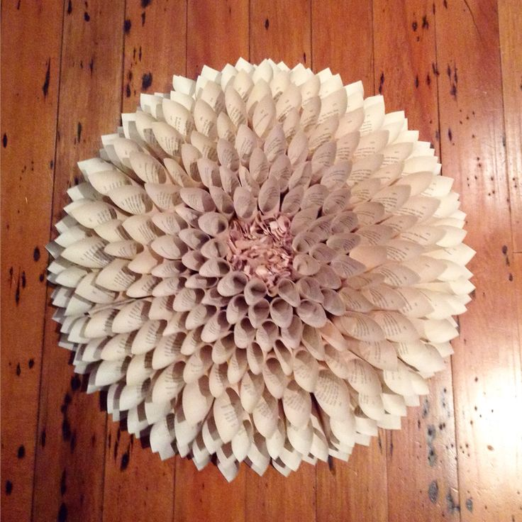 Paper book pages dahlia flower wreath art wall hangings
