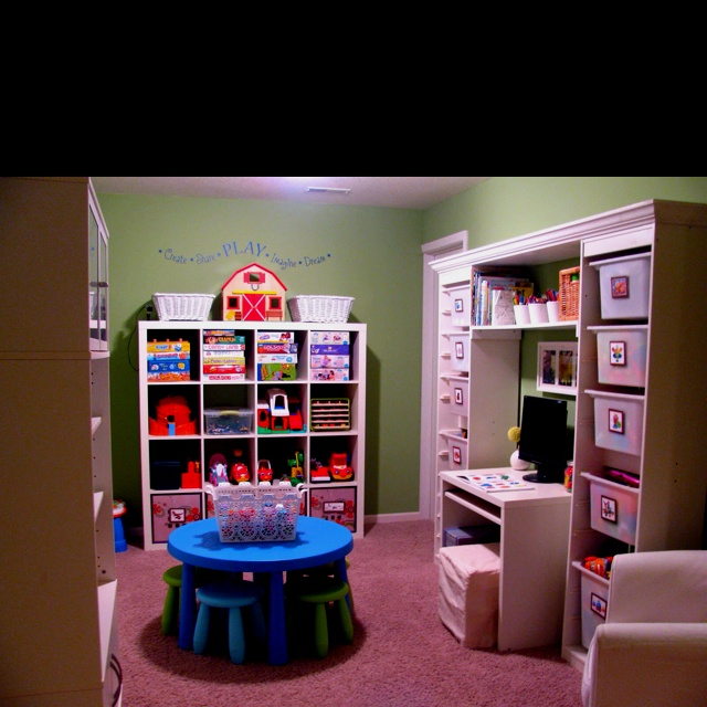 Kids toy room  Organic kids Products  http://organicproducts.gr8.com  I like the tall bin shelf.