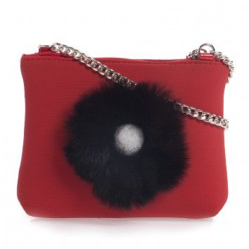 Simonetta Girls Bag With Fur Flower (14cm) at Childrensalon.com