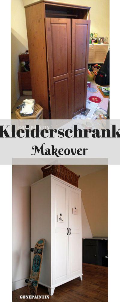 Ein einfaches Makeover eines Kleiderschrankes - von antikweiß zu shabby chic weiß im Landhausstil. Kreidefarbe und Grundierung, dann eine Versiegelung - ich zeige Euch, was Ihr braucht! easy makeover of a closet using chalk paint and a primer. #makeover rbe#kleiderschrankneu#schrankstreichen#shabbychic#landhausstil#möbelstreichen#kleiderschrank#rustoleum#makeover