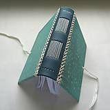 Papiernictvo - Zápisník A6 s koženým chrbtom - floral (tyrkys) - 8345570_