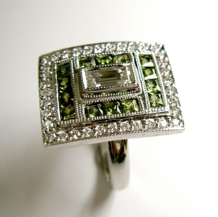 18ct white gold tourmaline & diamond ring. www.facebook.com/kkjd.1959.jewdes