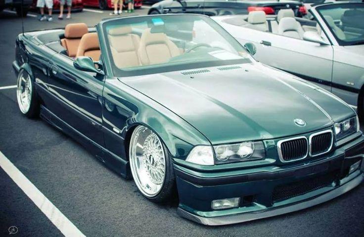 BMW E36 M3 green cabrio deep dish BBS slammed
