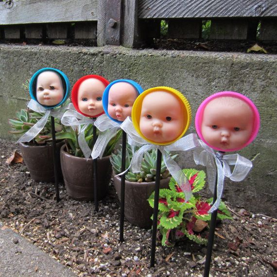 Doll head plant markers.