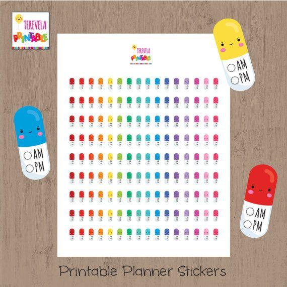 Pill am/pm reminder planner stickers, medicine stickers, kawaii stickers, printable planner stickers, planner accesories, medicine tracker
