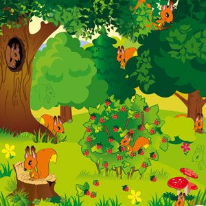 "online game for toddlers ""Find the squirrels!"""