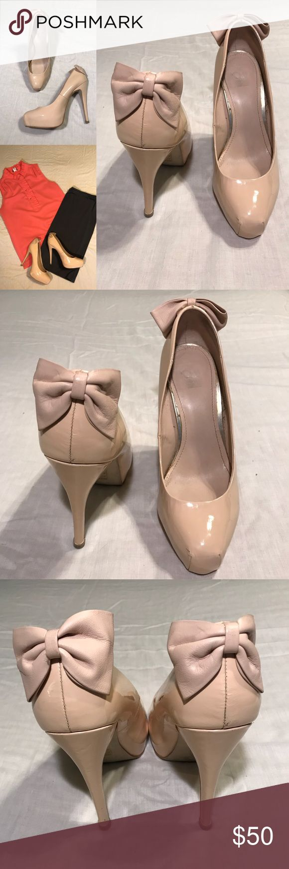 "DV by Dolce Vita Nude Patent Platform Bow Pump Ballet inspired Dolce Vita nude patent leather hidden platform pump with pointe shoe-esque toe and bow detail at heel. 1"" hidden platform. Bow is soft leather (not patent). 5"" heel. Heel cap is in great shape - barely worn. Size 9M. DV by Dolce Vita Shoes Heels"