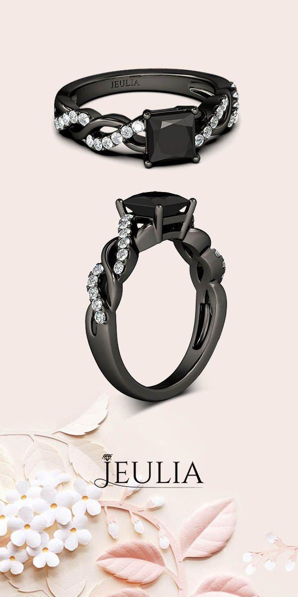 Princess Cut 1.5CT Black Engagement Ring #Jeulia