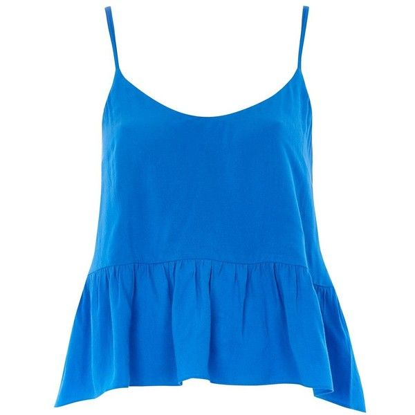 Topshop Casual Camisole Top ($21) ❤ liked on Polyvore featuring tops, blue blue, blue peplum top, blue camisole top, cami top, peplum tops and blue top