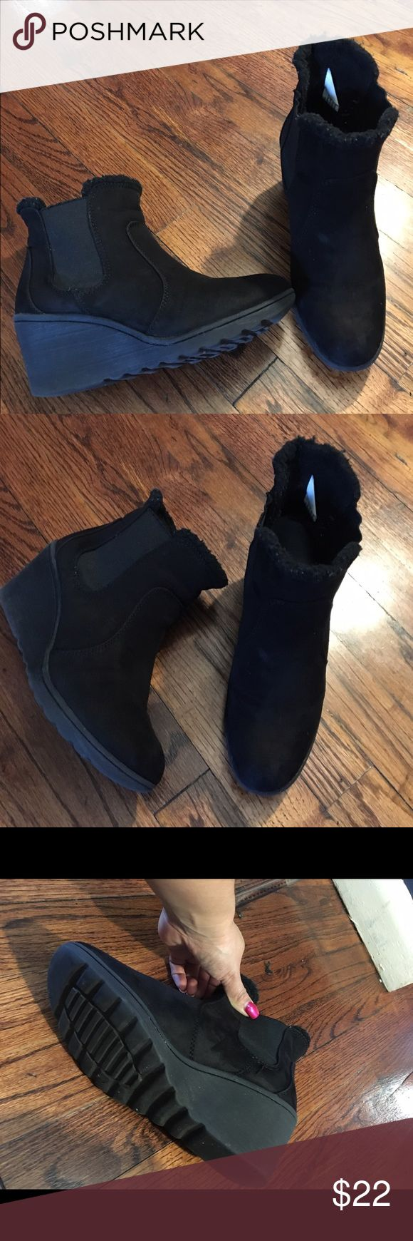 """Winter ankle booties Bought them for the holidays. They are very comfortable -- being a mom comfy heels are rare. Gently worn, but definitely not like new. They are size 7/5 but I'm a 6.5 and fit just well. Heels are 2.5"""" Tag as Urban Outfitters  for exposure only: Urban Outfitters Shoes Ankle Boots & Booties"""