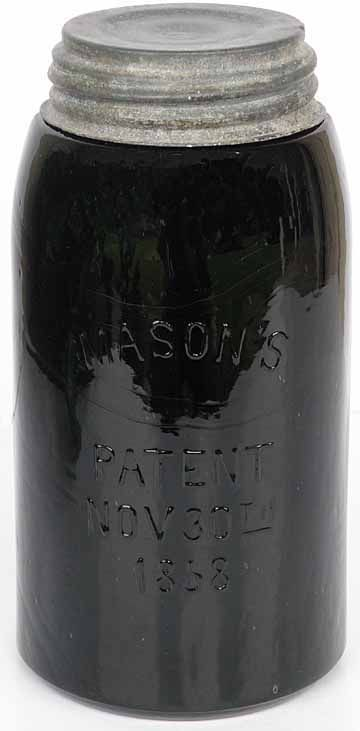 7937. BLACK GLASS Masons PATENT NOV 30th 1858 Qt Hemingray - Listing # 7937