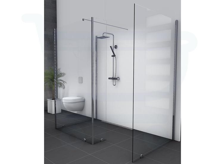 Saniclass Vienna Inloopdouche bestaande uit 2x vaste wand standaard 70x200cm met glas op glas wand 120x200cm en zijwand 30cm - Saniclass Douche - Sanitairwinkel.nl