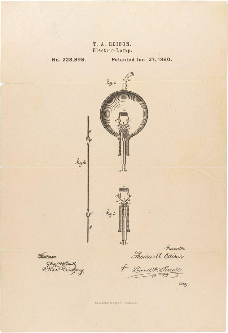 T.A.Edisons Light bulb patent. 1880
